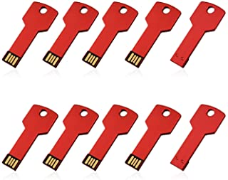 RAOYI 10PCS 8GB USB Flash Drive Metal Key Design USB Flash Drive Metal Key Shaped Memory Stick USB 2.0 Red 8G