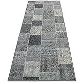 casa pura Tapis Vintage Tapis Patchwork | Polyamide résistant | Entretien Facile | 18 Tailles | Monsano, 80x250cm - Anthracite