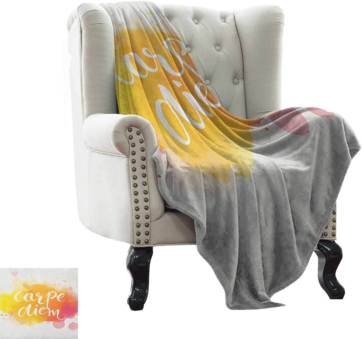 BelleAckerman Baby Blanket Yellow and White,Watercolor Style with Carpe Diem Seize The Day Enjoy The Moment, Yellow Marigold Pink Comfortable Soft Material  give You Great Sleep 60 x62
