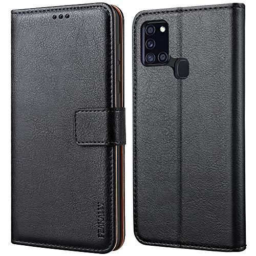 Peakally Cover per Samsung Galaxy A21s, Flip Caso in PU Pelle Premium Portafoglio Custodia per Samsung Galaxy A21s, [Kickstand] [Slot per Schede] [Chiusura Magnetica]-Nero