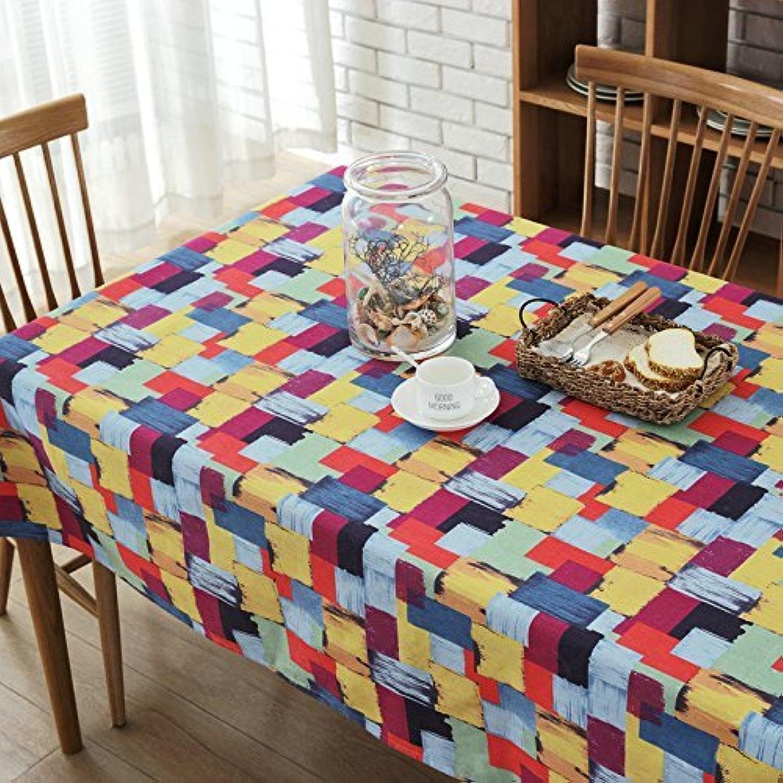 BMY Nappe de Table Table Tissu Fibre de bourre et Fibre de Feuille Nappe Vintage National Wind Nappe  , Couleur Plaid Paragraphe, 140  140Cm