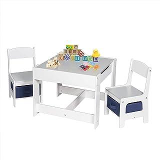 comprar comparacion EUGAD Juego de Mesa y 2 Sillas Infantiles Grupo de Asientos para Niños Muebles de Madera y MDF para Niños con Espacio de A...