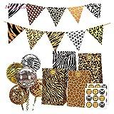 ZNXJC Animal Print Tiger Zebra Leopard Paquete Bolsa De Regalo Tema De La Selva Decoración De Fiesta De Cumpleaños para Niños Globos De Papel De Ducha (Color : Brown)