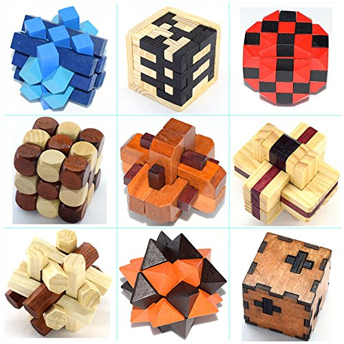 Joyeee 9 Stück 3D Magic Wooden Brain Teaser Puzzle #3– Diamond Cube Interlocking Jigsaw Puzzles for Teens and Adults - Challenge Your Logical Thinking - Ideal Gift and Decoration