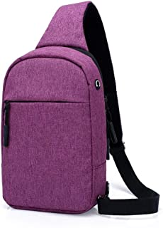 Big Capacity Durable Wear Resistant Polyester Sports Outdoor Messenger Shoulder Bag, Men and Women Pass Classic Multifunctional with Headphone Jack Crossbody Chest Bag Riding Bag Hiking