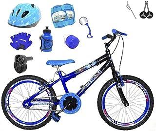 15a9513ad Bicicleta Infantil Aro 20 Azul Preta Kit E Roda Aero Azul C Capacete