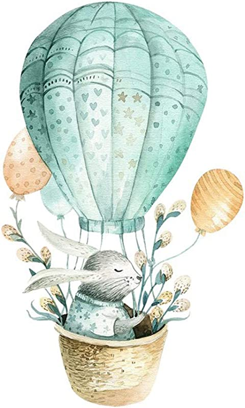 Winhappyhome Hot Air Balloon Rabbit Wall Sticker For Living Room Bedroom Children S Room Self Adhesive Decal Decoration