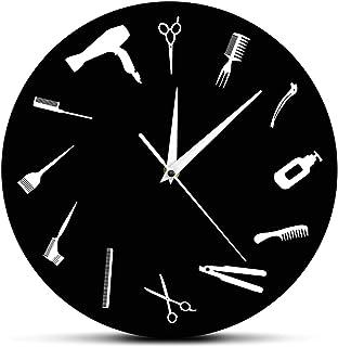Barber Equiment Tools Wall Clock, Modern Design Barber Shop Business Sign Wall Watch, Beauty Hair Salon Clock, for Office,...