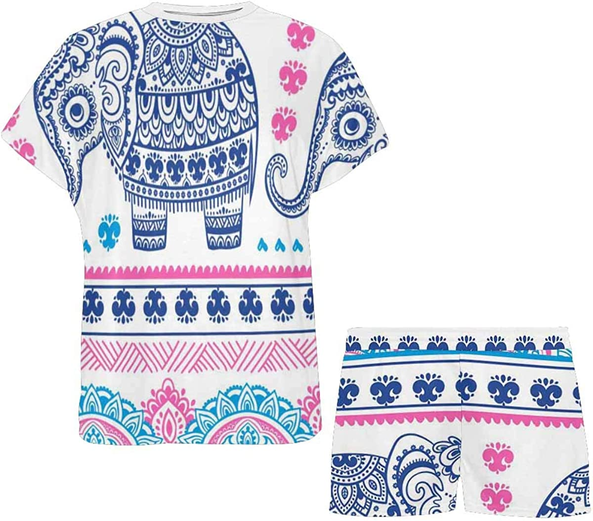 INTERESTPRINT Indian Elephant African Ornament Women's Pajamas Short Sets Round Neck Short Sleeve Sleepwear