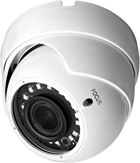 R-Tech 1080p 4-in-1 AHD/CVI/TVI/Analog Outdoor Dome Security Camera SMD High-Intensity IR LEDs for Night Vision - 2.8-12mm Varifocal (White) - Cable Controller with Dipswitches