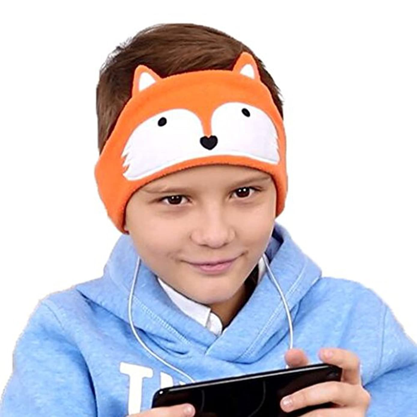 FIRIK Kids Headphones Volume Limited with Easy Adjustable Toddler Costume Silky Headband Headphones for Children, Perfect for Air Travel, Home and Christmas Birthday Gift - Fox
