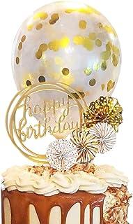 کیک تولدت مبارک کیک Topper کیک کیک اکریلیک Topper، یک سری از طرفداران کاغذ طلا Confetti Balloon کیک تولد لوازم دکوراسیون