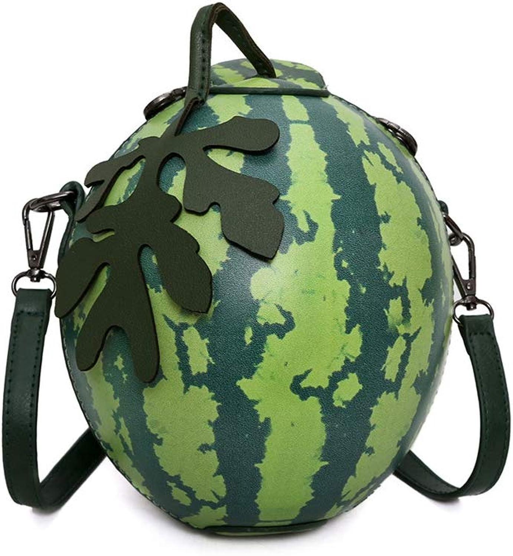 ASHIJIN Summer Girls Fashion Personality Watermelon Shaped Shoulder Bag Green Print-Shoulder Bag for Women