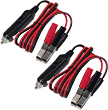 [2 Pack] KUNCAN Automotive Sturdy Alligator Clamp Jumper Cable - Booster Battery Charge Cable with Cigarette Lighter Male Plug, Electrical Clip-on 16 AWG Heavy Duty Extension Cord, Fuse 10A 12Volt 3FT