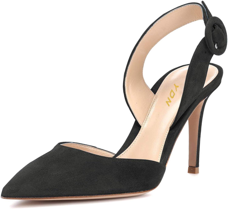YDN Women Slingback D'Orsay Pumps Pointed Toe High Heel Slide Sandals Office shoes