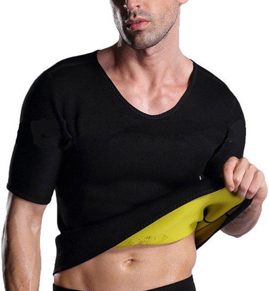 Sumerlly Summer Men Sweat Shirt Short Sleeve Neoprene Gym Fitness Weight Loss Slimming Body Shaper T-Shirt