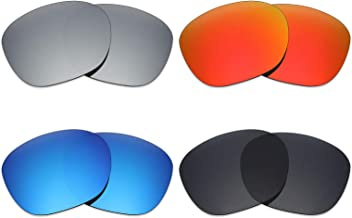 Mryok 4 Pair Polarized Replacement Lenses for Oakley Garage Rock Sunglass - Stealth Black/Fire Red/Ice Blue/Silver Titanium