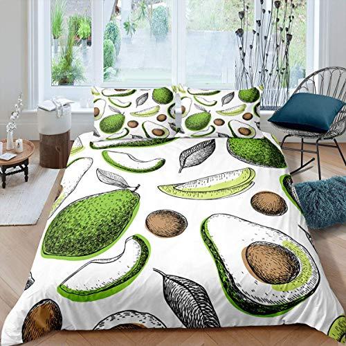 Funda de edredón de hojas de palma, funda de edredón hawaiana, juego de cama con hojas verdes, ramas, funda de edredón blanca, 3 piezas, tamaño king