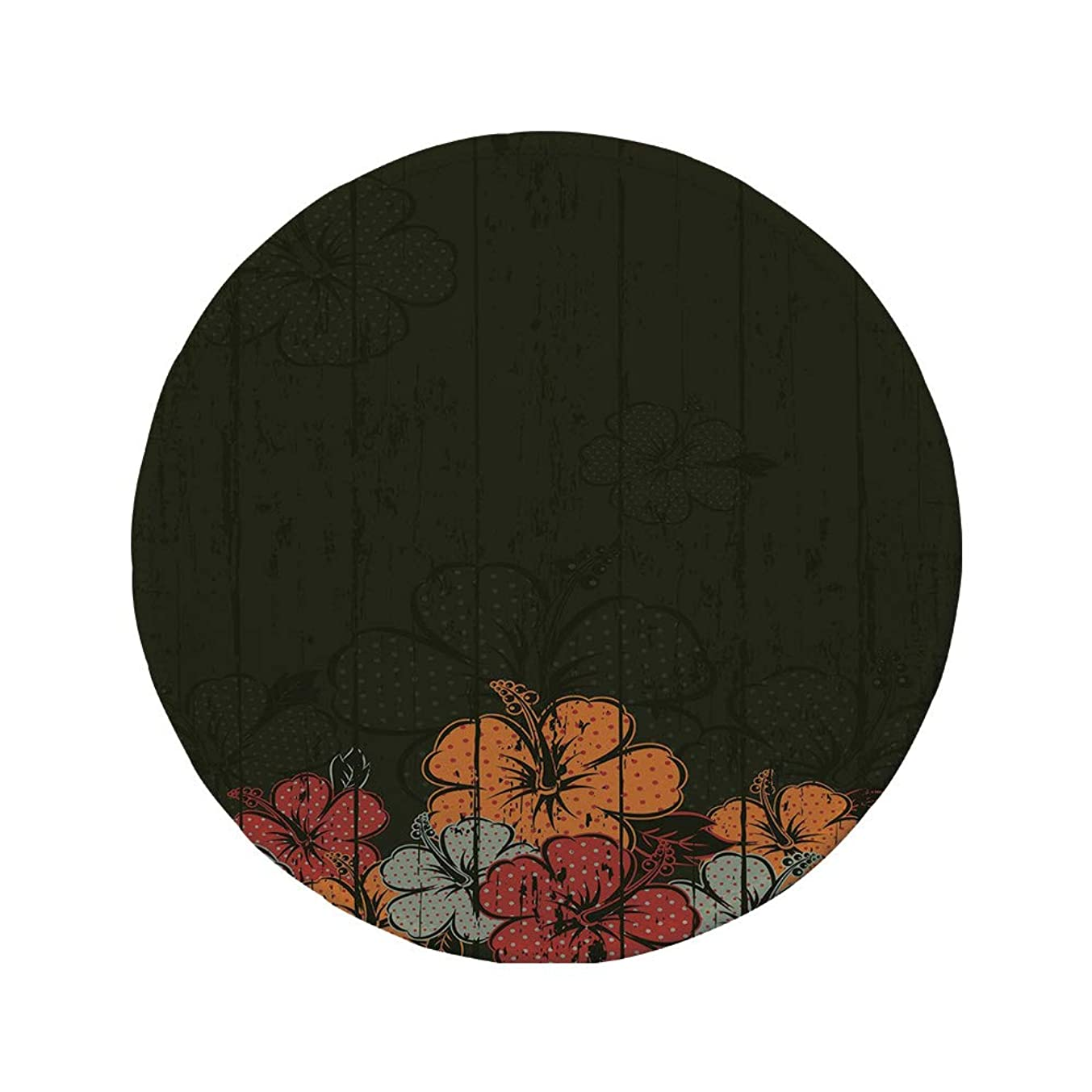 Non-Slip Rubber Round Mouse Pad,Floral,Abstract Wooden Backdrop with Hawaiian Romantic Flowers Buds Blooms Leaves,Amber Red Army Green,11.8