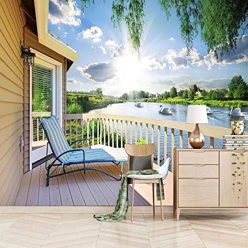 Fotomurales 3D Sillón Balcón Tejido-No Tejido Papel Pintado Fotomural Decoración De Paredes Moderna Para Dormitorio Salón 400X280Cm