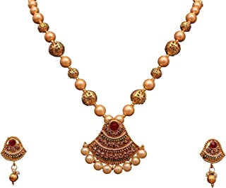 Artificial Jewelry White Pearl Golden Pendant Necklace neckpiece Choker & Earring Studs Set for Women