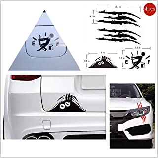 """3 in 1 Sticker Claw Marks Decal Reflective 16 x 5"""" (Black 2PCS) Decal Fuel Gage Empty Stickers (Black 1PCS) Peeking Monster Scary Eyes for Laptop Ipad Window Wall Car Truck Motorcycle (Black 1PCS)"""