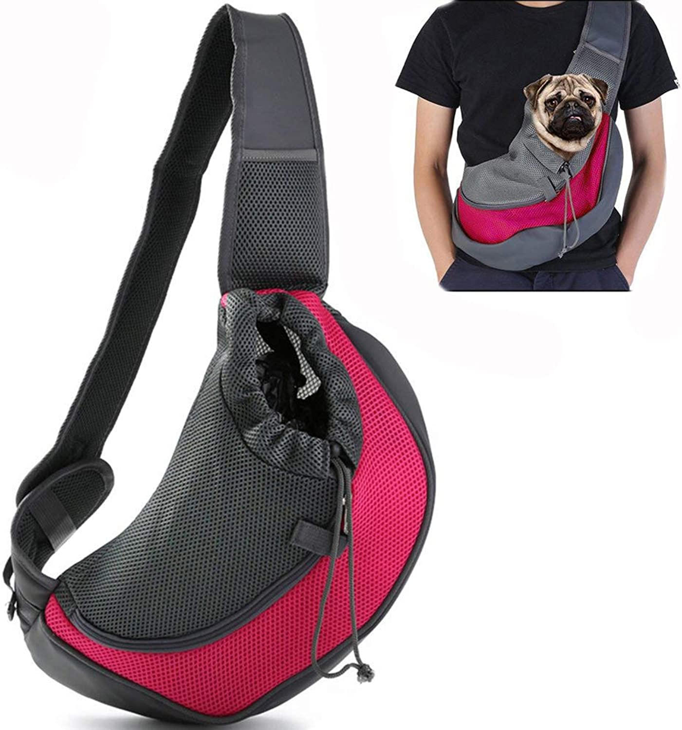 Pet Dog Sling Carrier Shoulder Bags,Outdoor Reversible Pouch Mesh Shoulder Carry Bag Tote Handbag Carrier,with Adjustable Strap & Zipper for Dogs and Cats,C,L