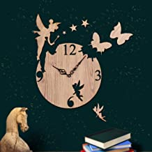 Sehaz artworks Fairy-Butterfly MDF Wood 10 inch Designer Wall Clock for Home and Kitchen - Best for Christmas Gift