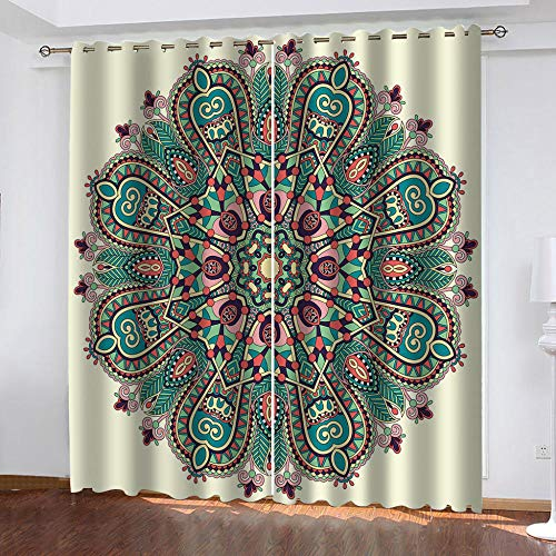BHOMLY - Curtains For Bedroom Eyelet - 3D Digital Printing - Green floral bohemian style 52.5x152cm 2 Panels - Bedroom - Living Room Nursery - Eyelet Curtains - Curtains Blackout