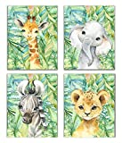 Little Baby Watercolor Animals Jungle Safari Prints Set of 4 (Unframed) Nursery Decor Art (8x10) (Option 3)