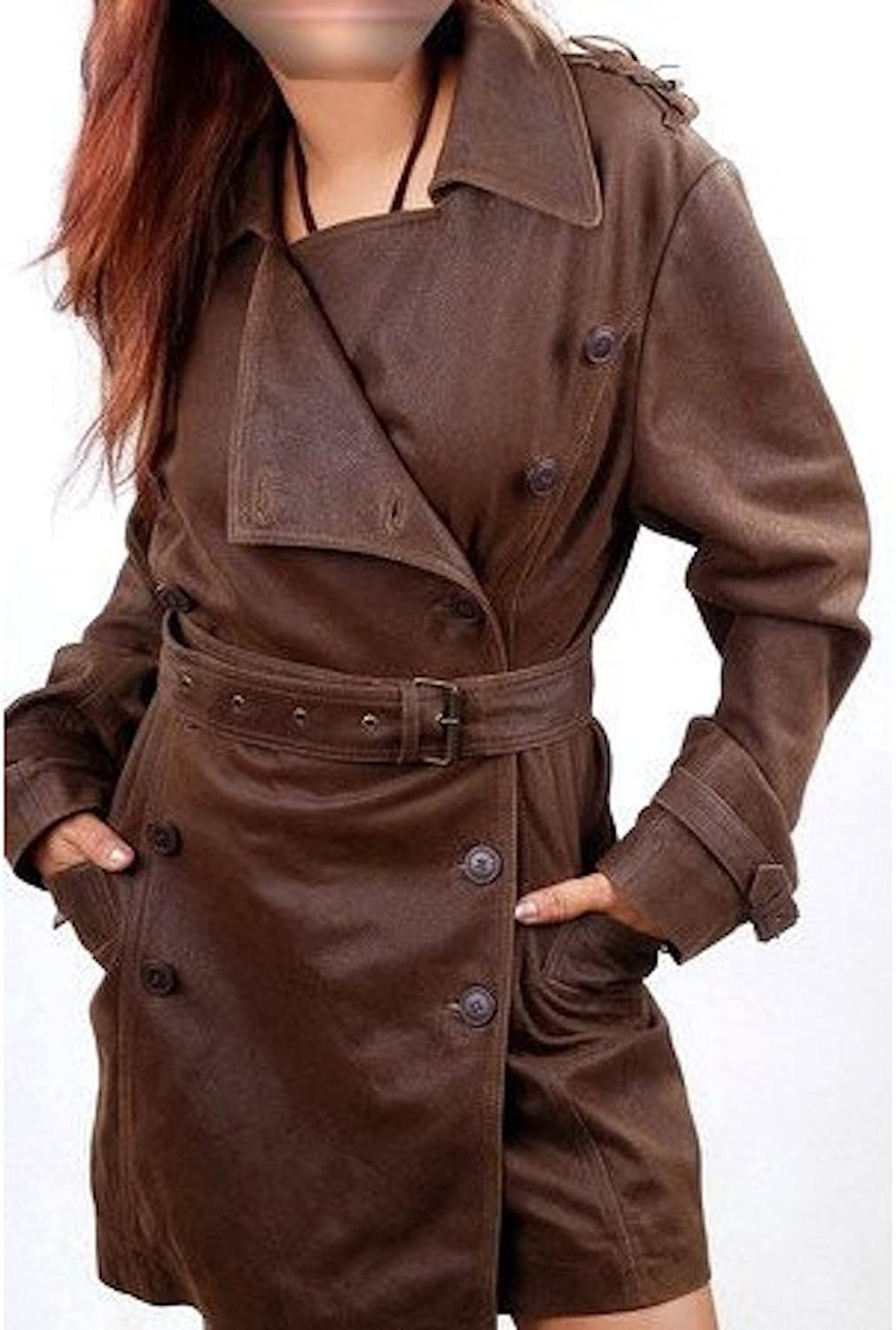 Fadcloset Woman's Marble Brown Vintage Leather Coat
