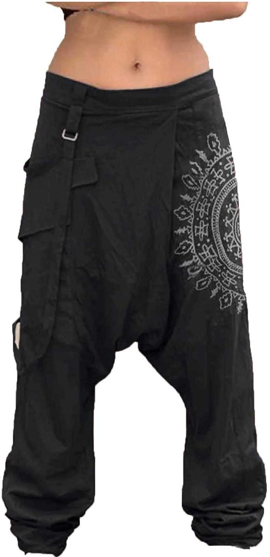 Burband Unisex Summer Harem Pants Hippie Boho Yoga Palazzo Pants Casual Loose Wide Leg Elastic Waist Capris Lounge Pants