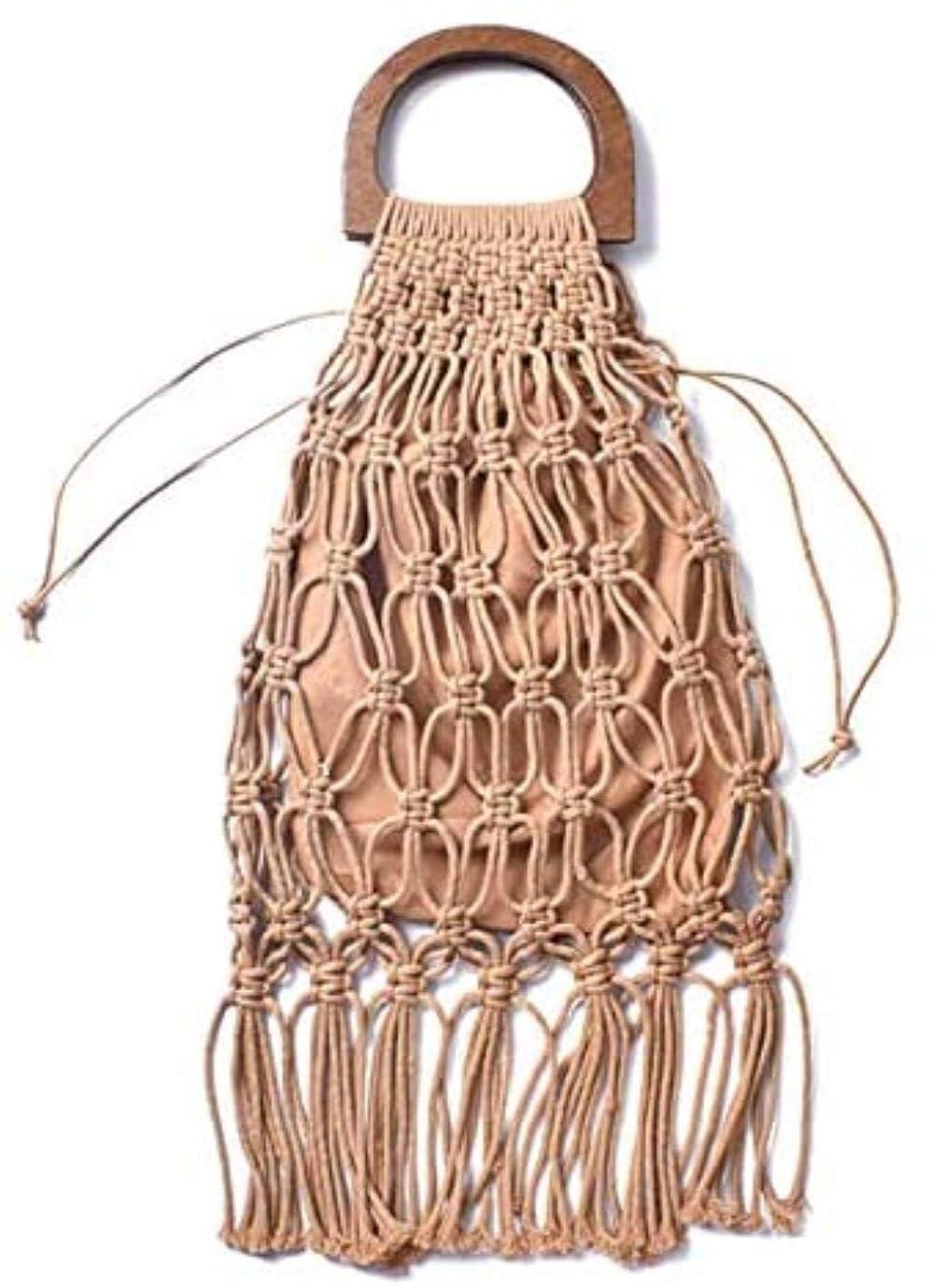 エキゾチックメロドラマ野菜織トートバッグ 中空タッセル籐バッグ手作りの木製ハンドルレディースハンドバッグ織ロープストローバッグトートバッグカジュアルサマービーチショッピング財布サック、ブラック,:無料サイズ、色:グレー RUSNW (Color : Brown)