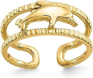 14K Yellow Gold Dolphin Toe Ring