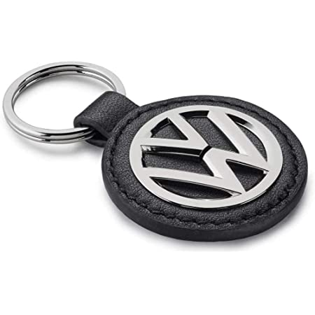 Original Vw Volkswagen Logo Schlüsselanhänger Mit Schwarzem Leder Auto