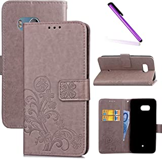 LEECOCO HTC U11 Case Embossed Lucky Clover Floral with Card Slots Magnetic Flip Stand Premium PU Leather Wallet Protective Cover Case for HTC U11