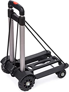 Luggage Cart Hand Truck with Telescoping Handle and 4 Rubber Wheels Compact and Lightweight, Black