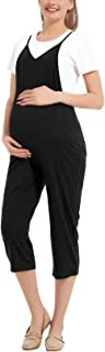 GINKANA Maternity Jumpsuit Casual Capri Adjustable Spaghetti Strap Jumpers Rompers with Pockets Maternity Clothes