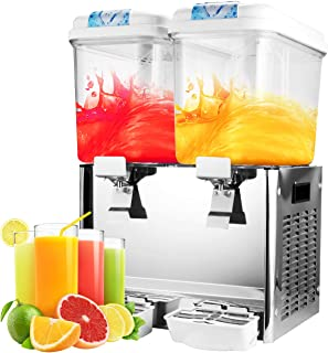 BEAMNOVA Cold Drink Dispenser Electric Beverage Juice Cooler Frozen Drink Maker Machine For Parties Home Commercial Use, 2-Tank 36L 9.5 Gal