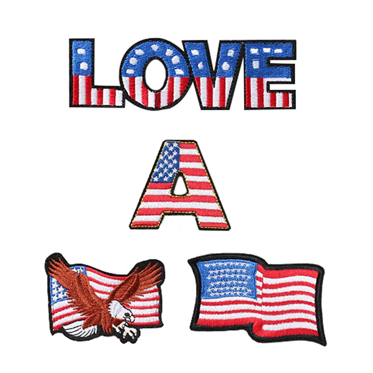 4 Pcs Love America Iron On Sew On Embroidered Patch, Applique Patch, Cool Patches for Men, Women, Boys, Girls, Kids
