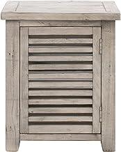 Crestview Collection CVFVR8128 Pembroke Plantation Recycled Pine Hudson Finish 1 Door Slated Rectangle End Table Furniture