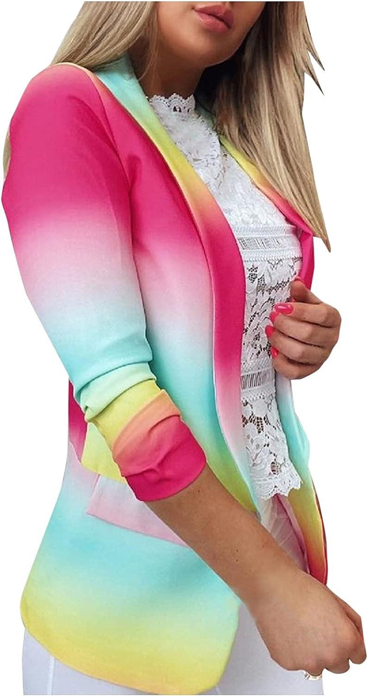 Xinantime Women's Tie-dye Gradient Suits Long Sleeve Slim Fit Jacket Open Front Lightweight Cardigan Lapel Office Wear Coat