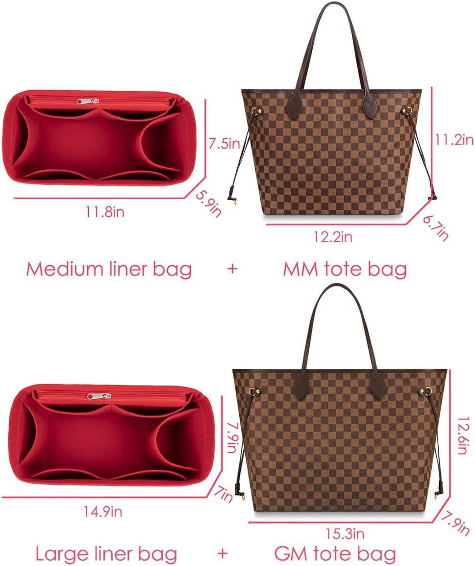 fashion Felt Handbag Organizer Purse Insert Bag classic Neverfull Tote Insert Neverfull Bag Set Medium Organizer /& handbag, Pink