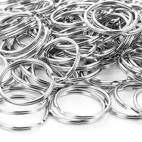 200x Split Key Rings 25mm Metal Nickel Silver Loop/Hoop Keyring O-Ring Holder