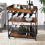 Bar Cart for Home, Serving Carts on Wheels, Wine Cart with 3-Tier Shelves, Kitchen Bar Car Industrial Metal Serving Cart with Removable Wood Top Box, Rustic Brown