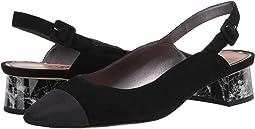 Black Kid Suede Leather/Dress Grosgrain