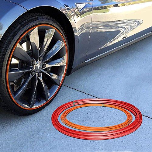 Upgrade Your Auto Wheel Bands Orange Insert in Red Track Pinstripe Rim Edge Trim