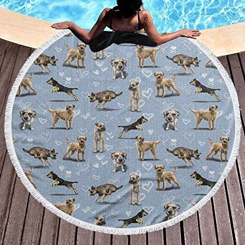 Große runde Strandmatten, Border Terrier, geeignet für Innen- und Außen Picknick Strand Billardtisch Matten Yoga-Matte 59 Zoll,Grey