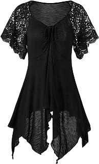 FRPE Women's Short-Sleeve Lace Stitch Irregular Plus Size Pure Color T-Shirt Top Blouse