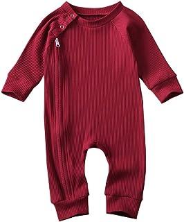 Miaouyo Baby Strampler Junge Mädchen 0-6 Monate Unisex Babystrampler Baby Body Langarm Reißverschluss Schlafanzüge Kleinkinder Onesie Neugeborene Overall Langarmshirt Pyjamas Jumpsuit Outfit